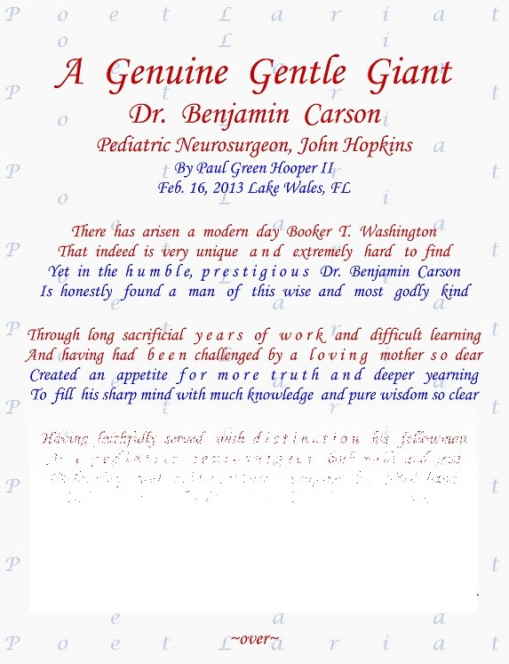 A Genuine Gentle Giant, Dr  Ben Carson, Pediatric Neurosurgeon