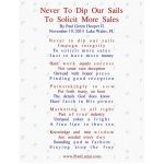 Never To Dip Our Sails, To Solicit More Sales
