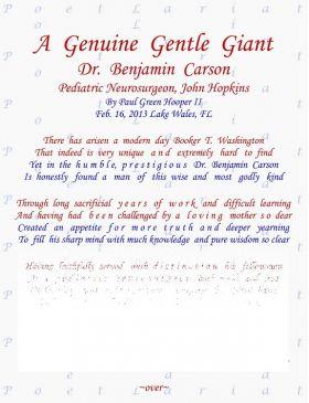 A Genuine Gentle Giant, Dr. Ben Carson, Pediatric Neurosurgeon