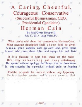 A Caring, Cheerful, Courageous, Conservative, CEO, Herman Cain