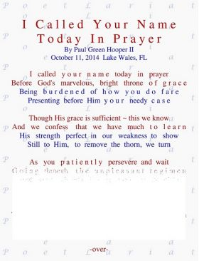 I Called Your Name Today, In Prayer