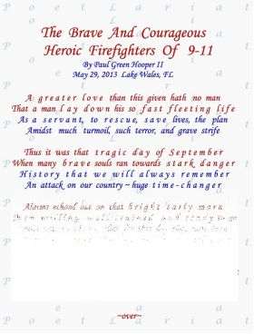 The Brave And Courageous, Heroic Firefighters, Of 9/11